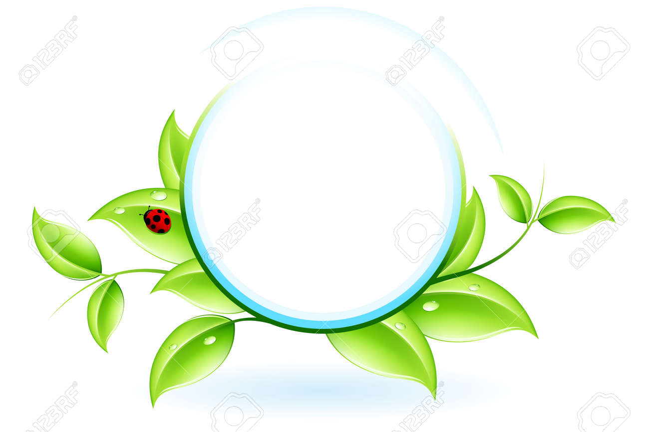 Green ecology concept with plant and ladybird for your design Stock Vector - 6931735