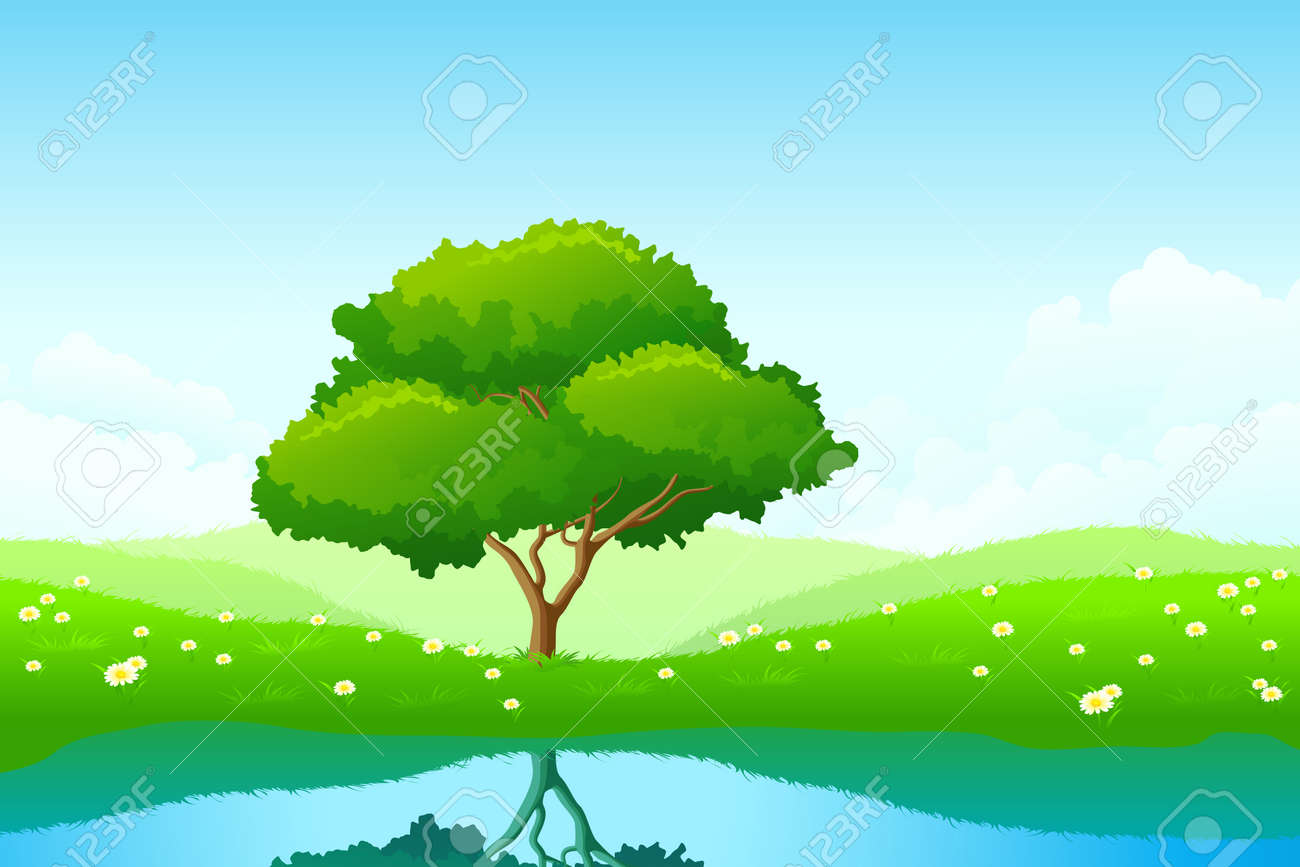 Green landscape with lonely tree and flowers Stock Vector - 7295941