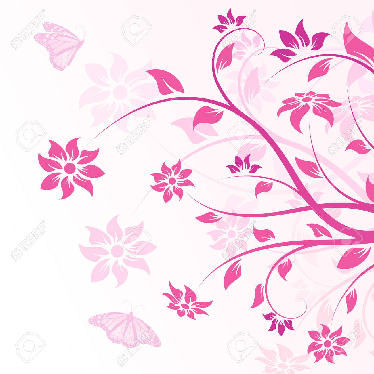 Abstract Background with flowers and butterfly for your design Stock Vector - 7448500