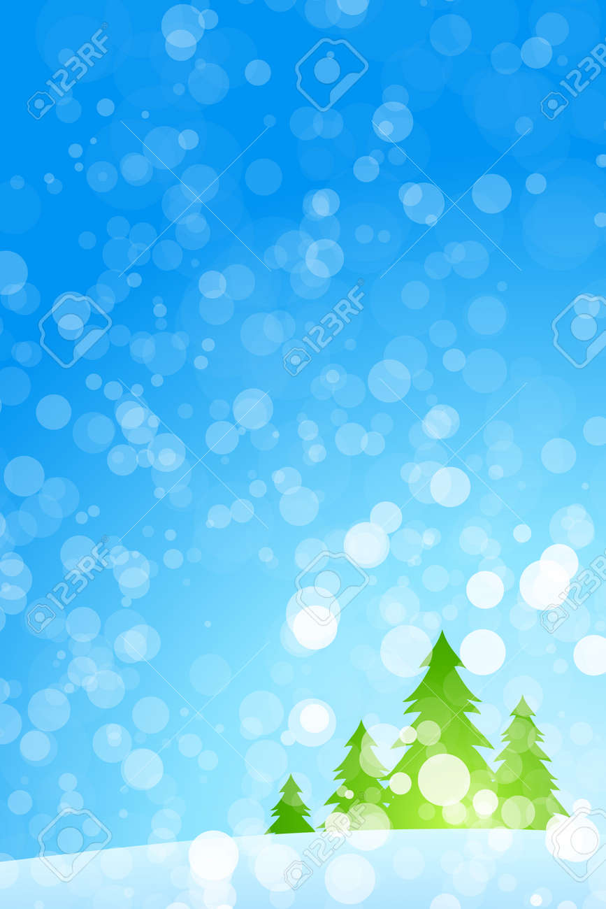 Winter Christmas trees with rays in blue color Stock Vector - 8327933