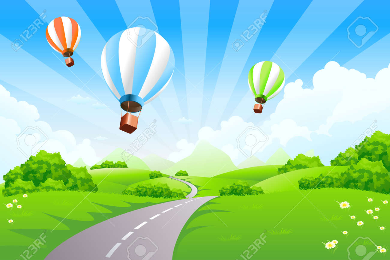 Green Landscape with Balloons clouds and mountains - 8616457