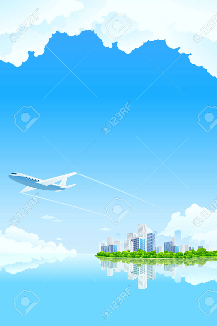 Business City Landscape with clouds water and airplane Stock Vector - 8985629