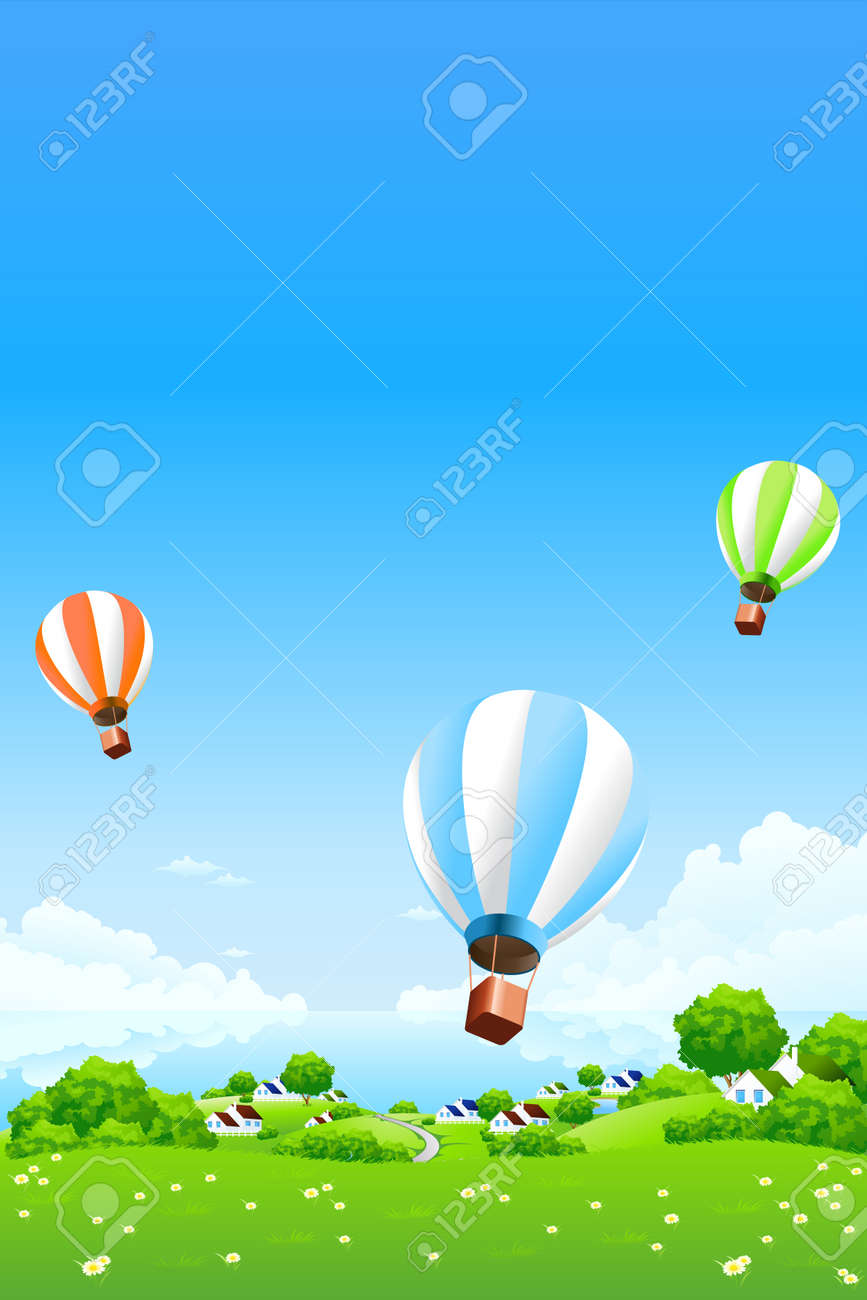 Green Landscape with Hot Air Balloons clouds water and houses Stock Vector - 8986203