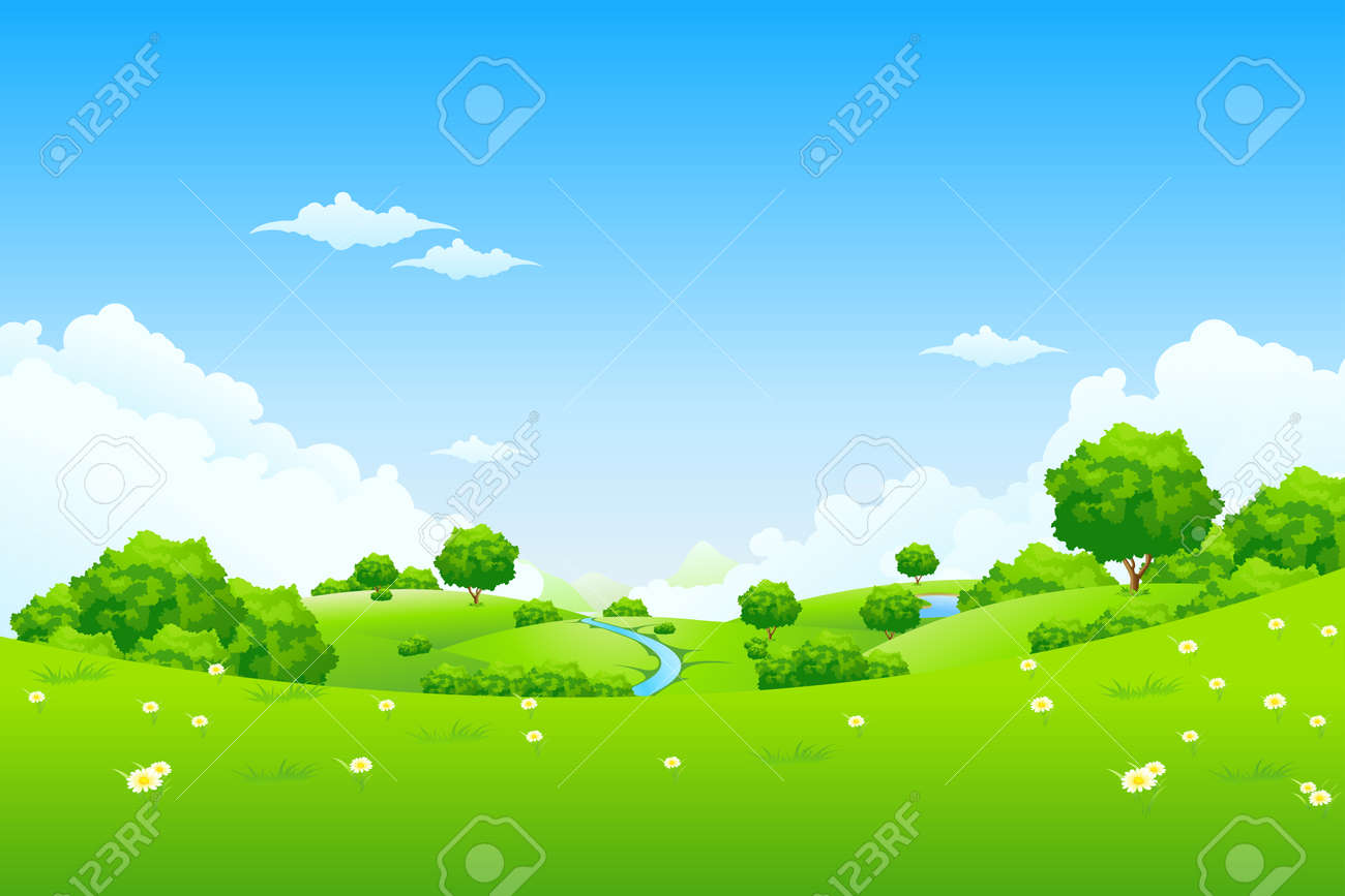 Green Landscape with trees clouds flowers and mountains - 9151955