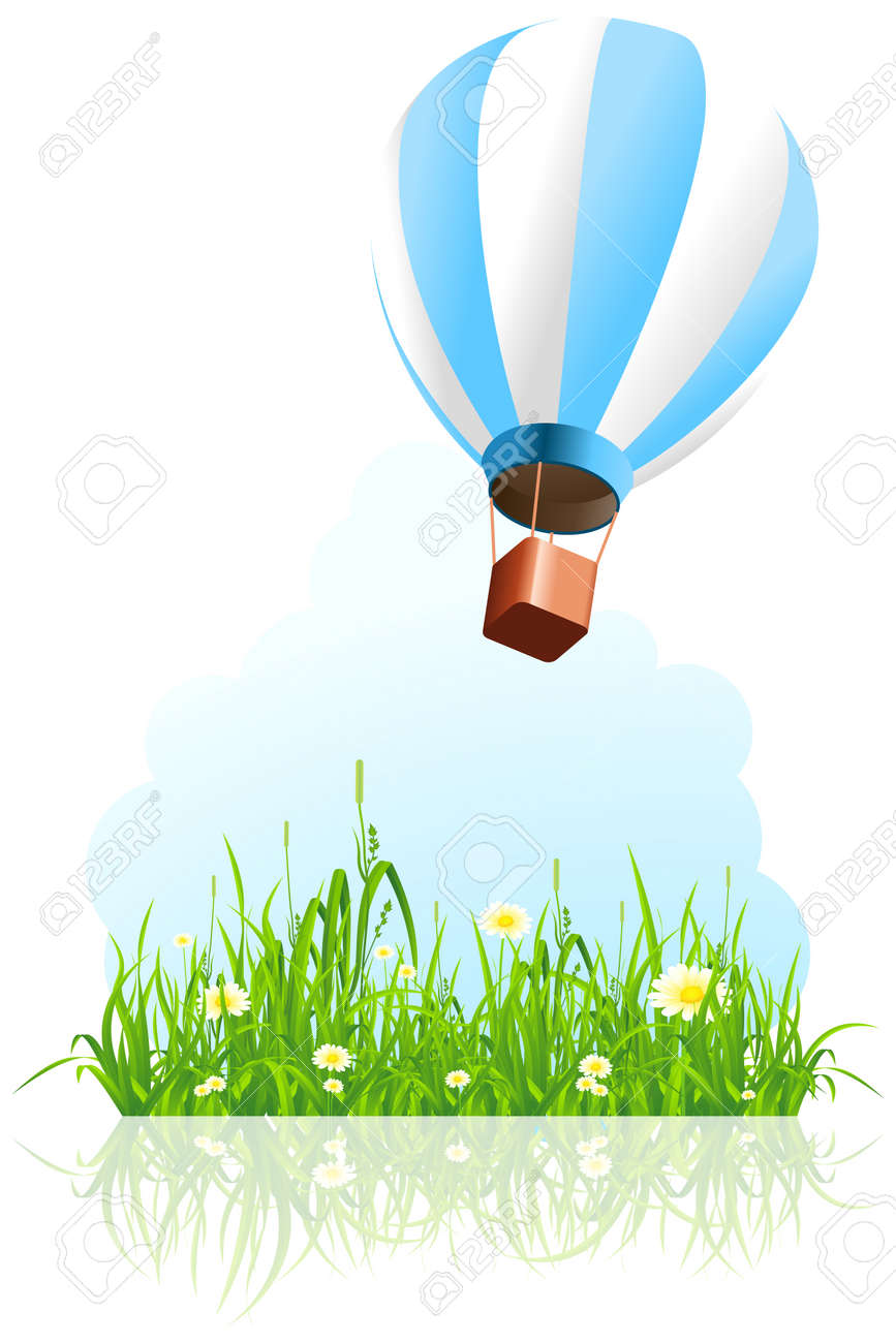 Green grass with flowers and hot air balloon on white background Stock Vector - 9557398