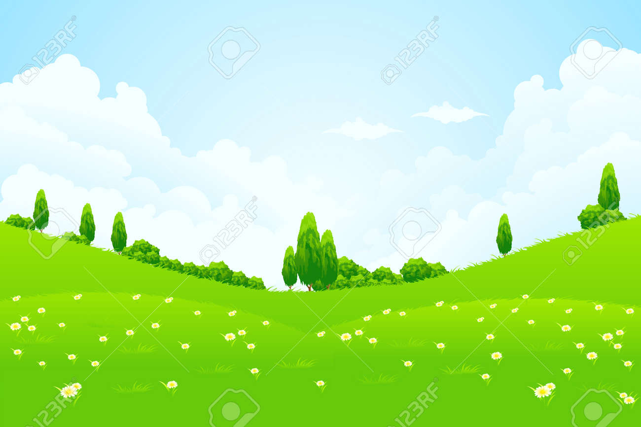 Green Landscape with trees clouds flowers and hills Stock Vector - 9794258