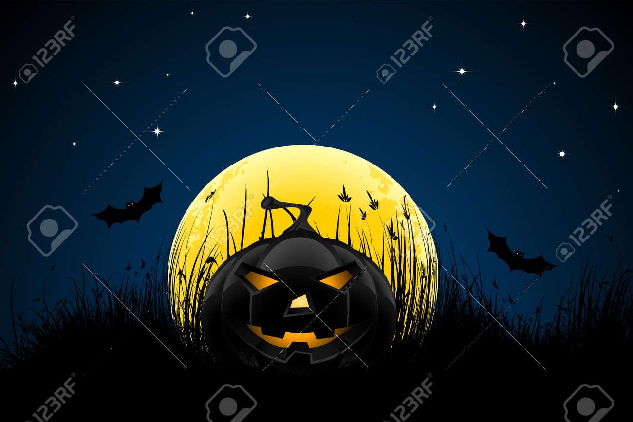 Halloween night background with pumpkin bats stars and moon Stock Vector - 10317596