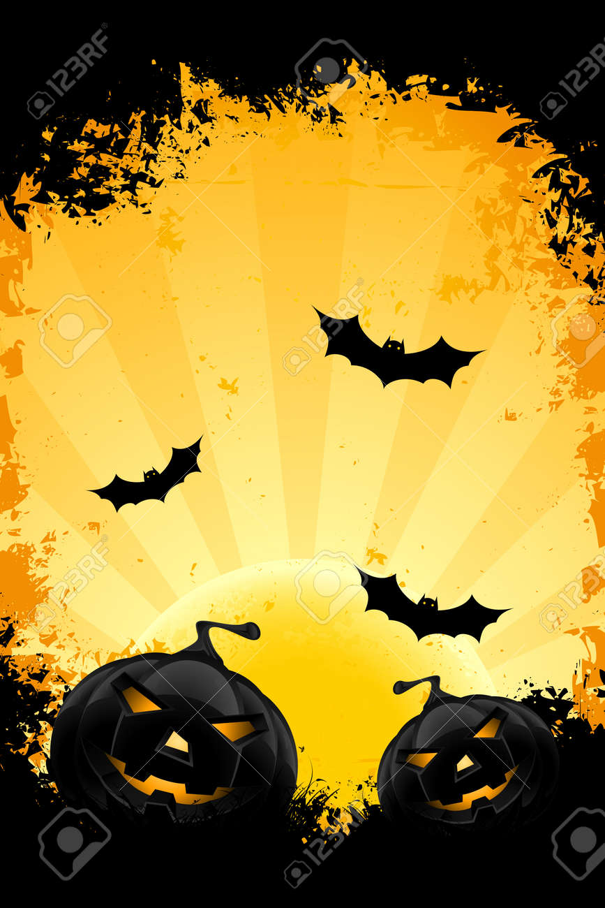 Grungy Halloween background with pumpkins bats and full moon Stock Vector - 10791801