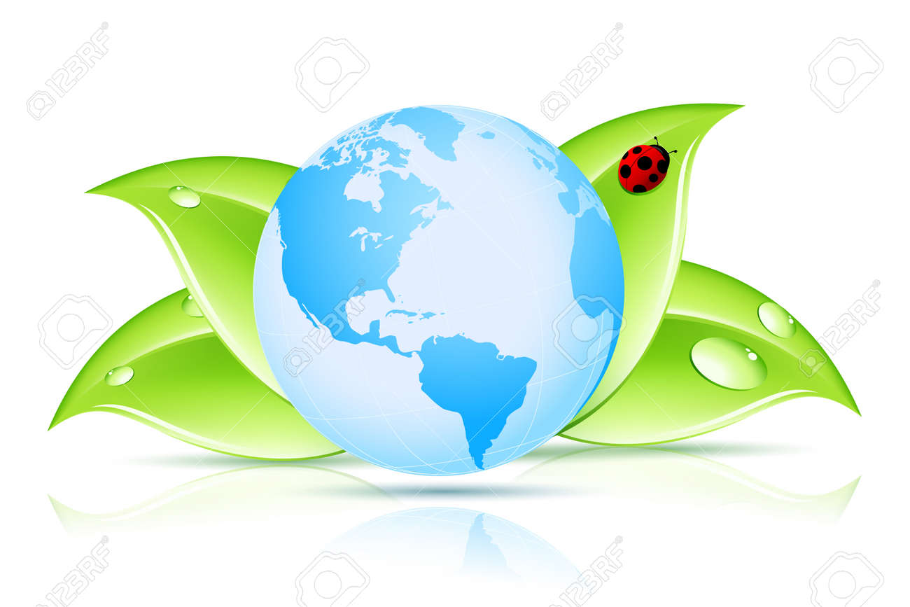 Green Earth Symbol with Leaves and Ladybird Stock Vector - 14169054