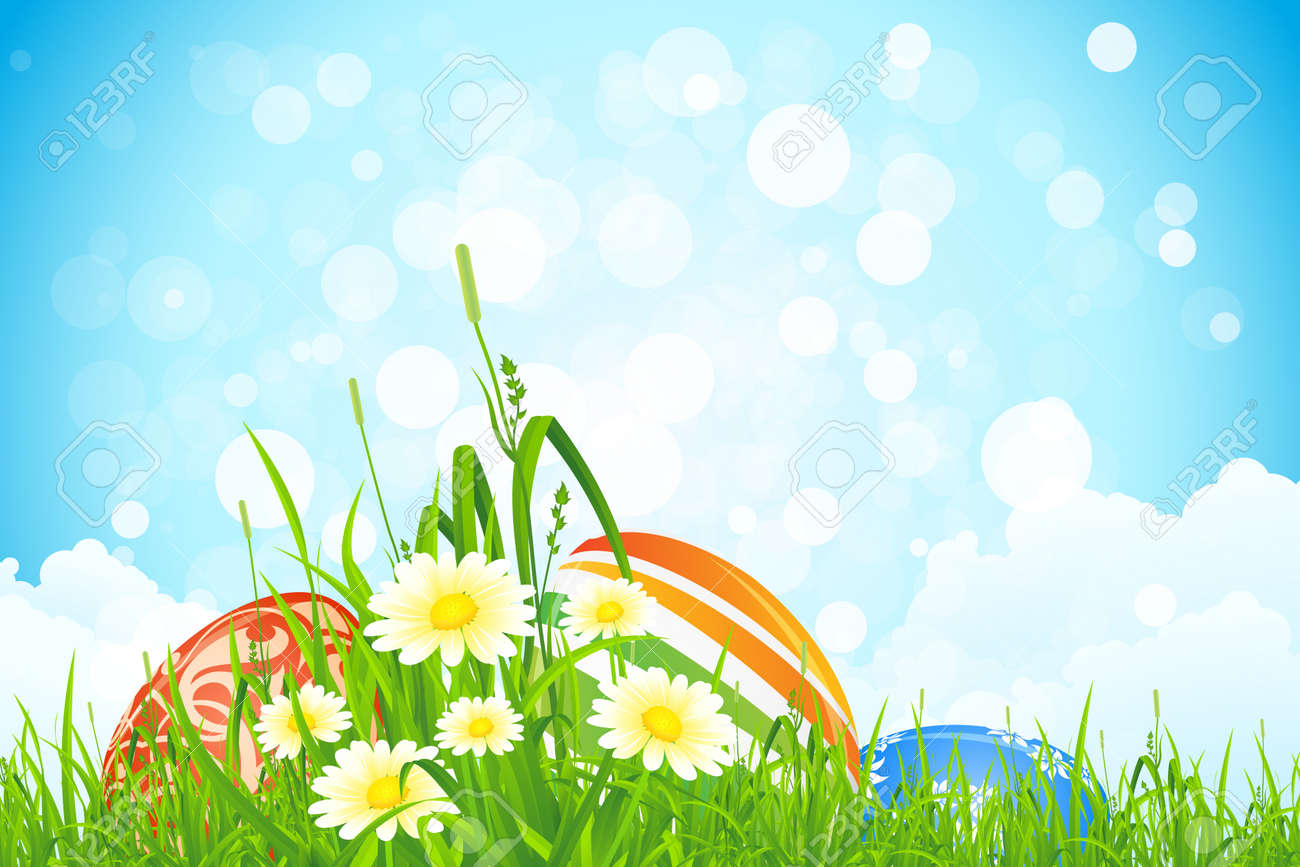 Easter Eggs inthe Grass with Flowers and Clouds Stock Vector - 17588671