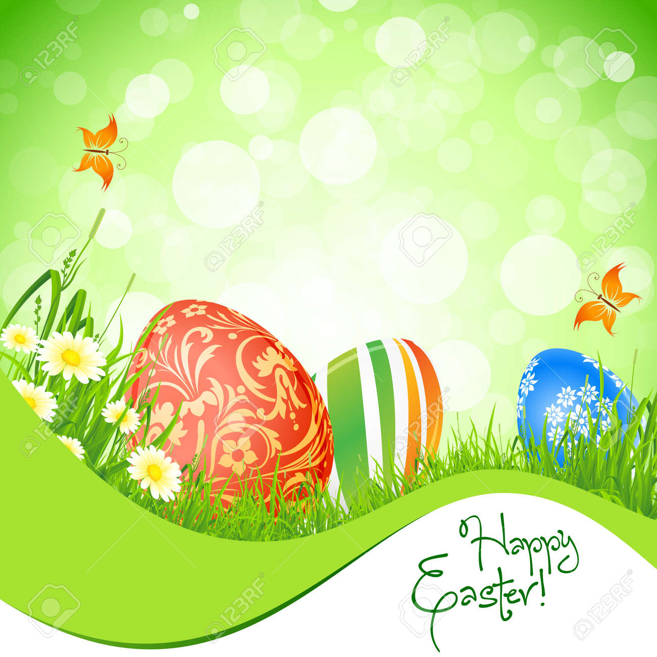 Beautiful Easter Background with Flowers and Butterfly Stock Vector - 17588672