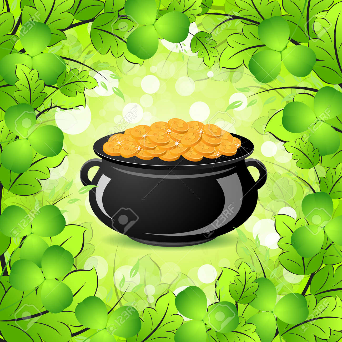 St. Patricks Day Cauldron with Gold Coins in Green leaves and Shamrocks Stock Vector - 17702508