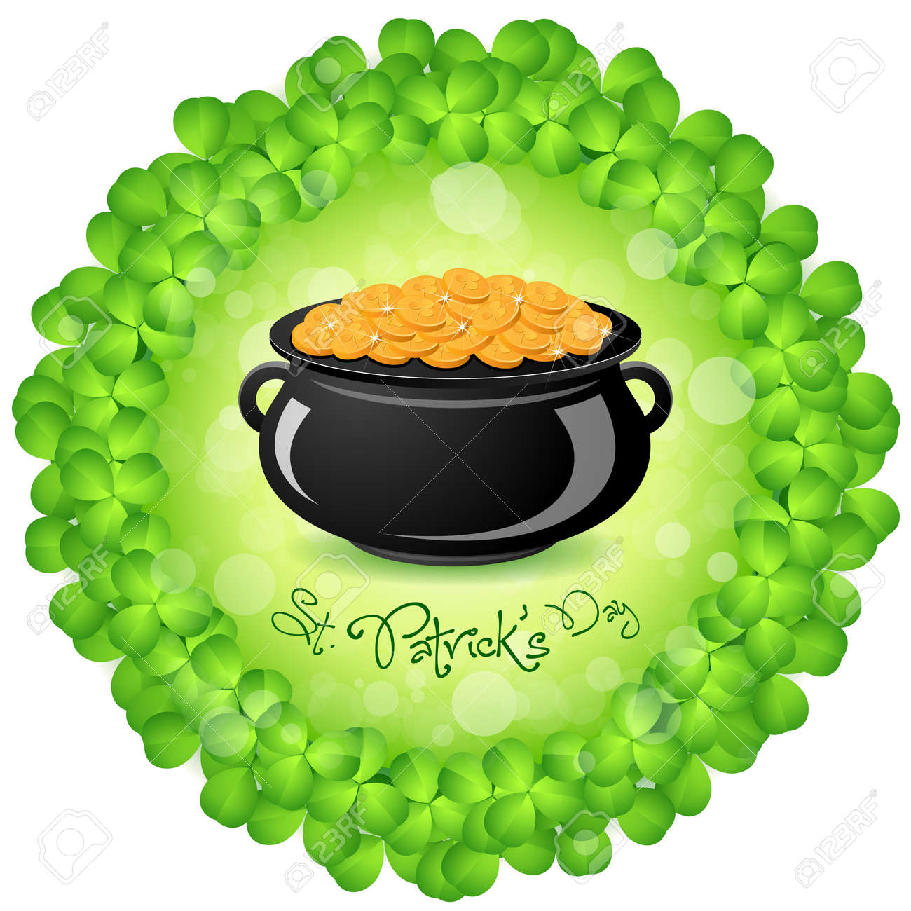 St. Patricks Day Cauldron with Gold Coins and Shamrock Around Stock Vector - 17860190