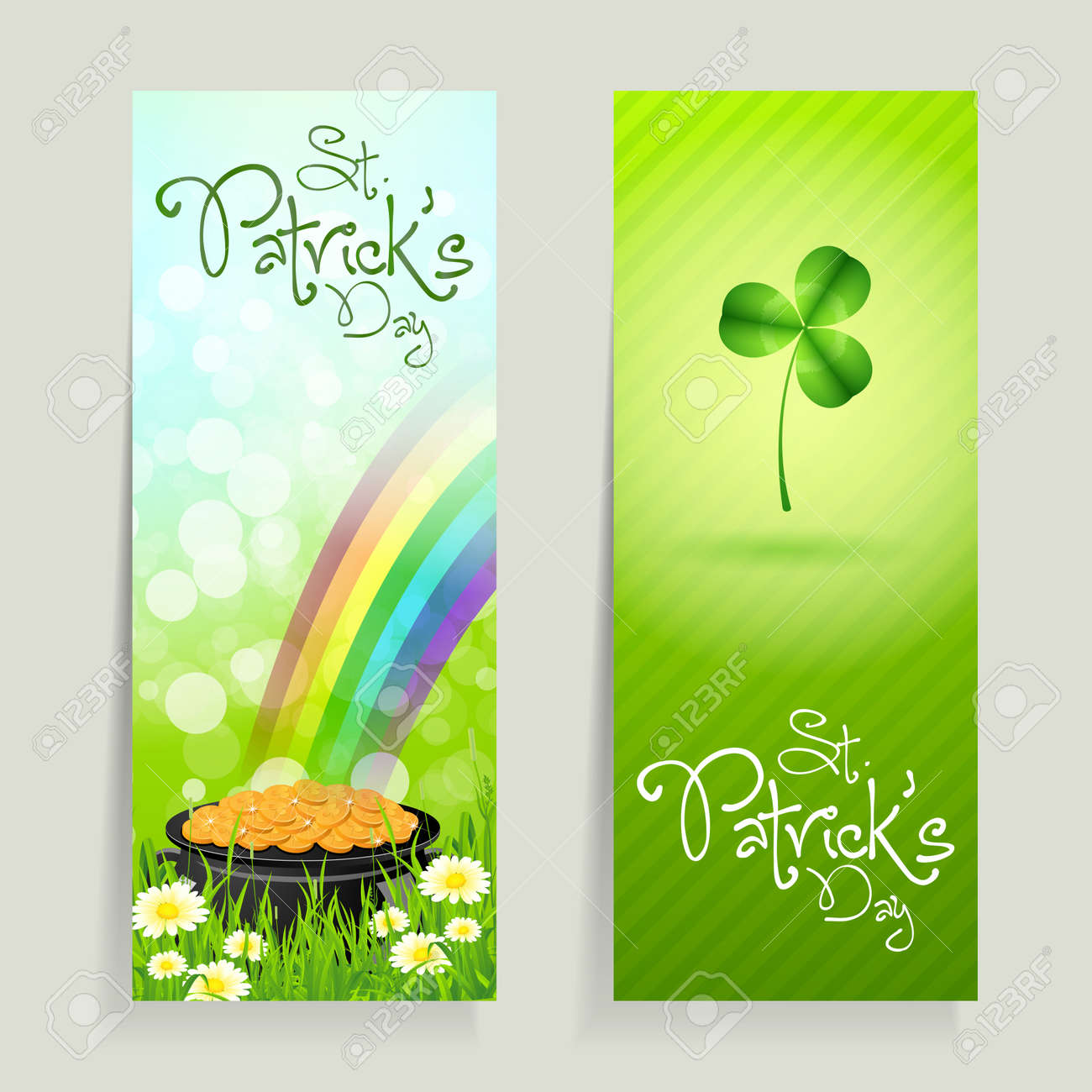 Set of St. Patrick's Day Cards with Cauldron of Gold Coins and Shamrock Stock Vector - 17860196