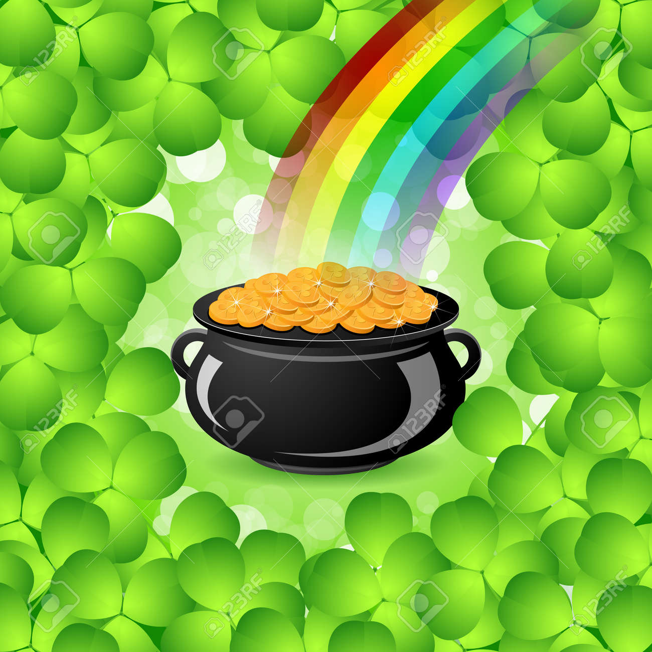 St. Patricks Day Cauldron with Gold Coins, Rainbow and Shamrock Stock Vector - 17971655