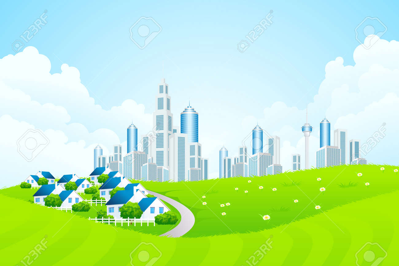Green Landscape with City line, Clouds and Cottage Village Stock Vector - 17971665