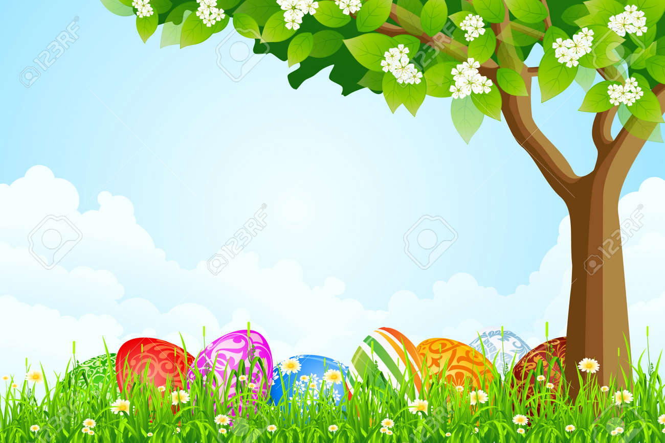 Green Tree Background With Easter Eggs Grass Flowers And Clouds Stock Vector