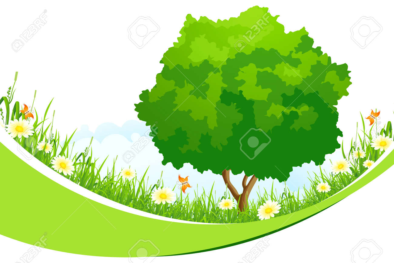Green Landscape with  Tree, Grass, Flowers and Clouds isolated on white background Stock Vector - 18138265
