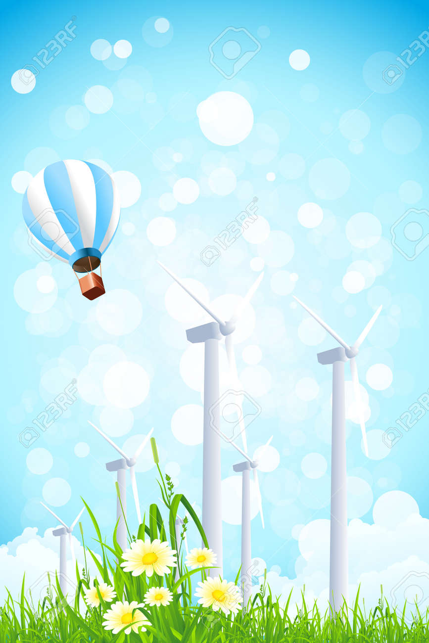 Abstract Background with Wind Power Plant, Grass, Flowers and Hot Air Balloon Stock Vector - 18170337
