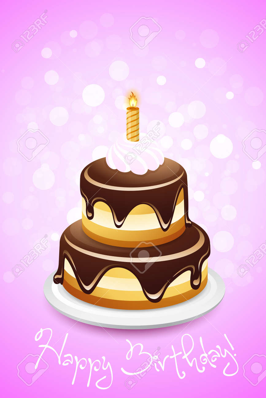 Happy Birthday Card With Cake And One Candle Royalty Free Cliparts