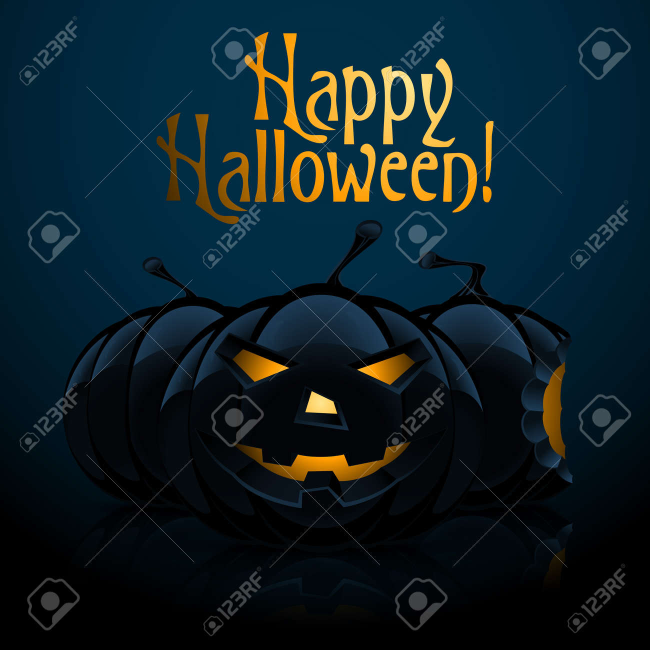 Halloween Background with Three Pumpkins on Dark Background Stock Vector - 20631759