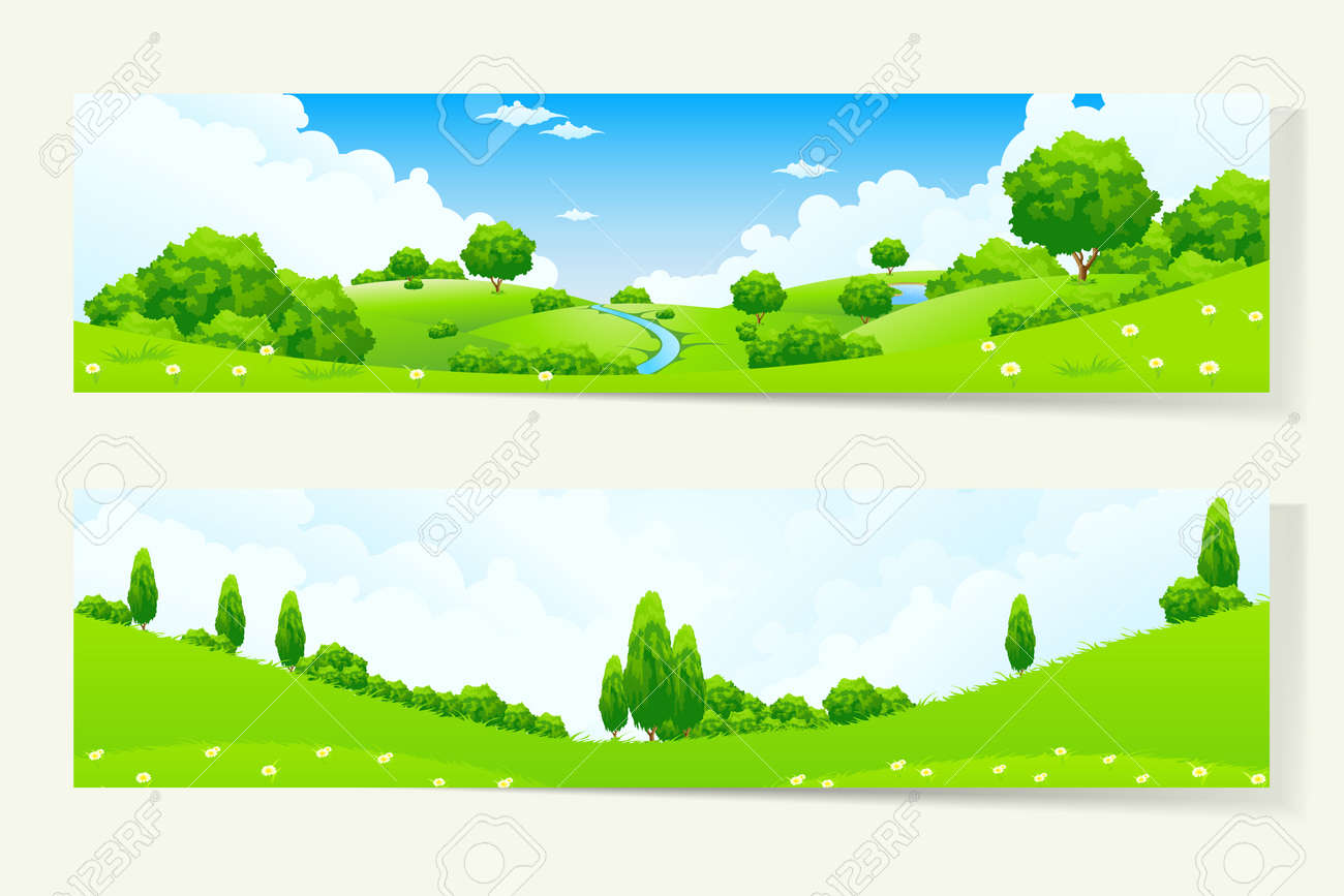 Two Green Horizontal Banners with Nature Landscape - 26571099