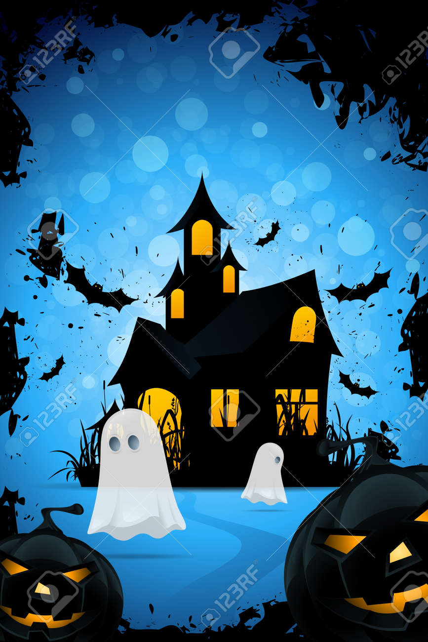 Halloween Background With Haunted House Pumpkins Bats And Ghosts Stock Vector