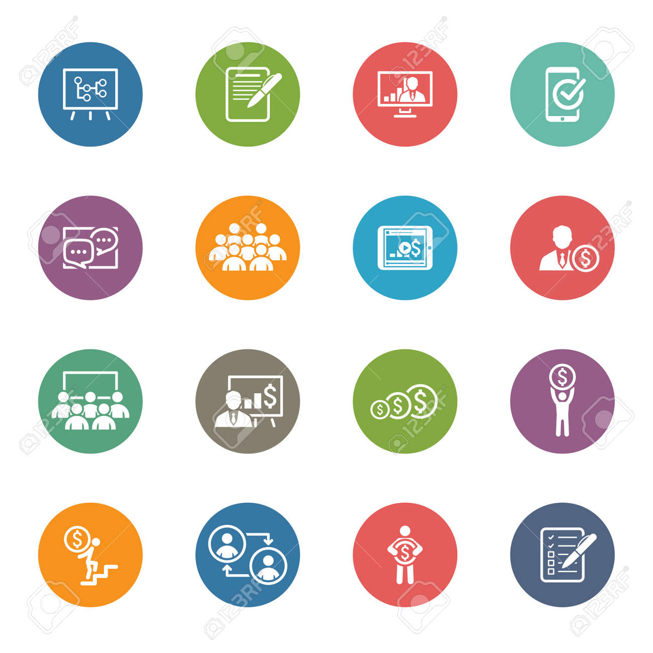 business coaching icon set online learning flat design isolated