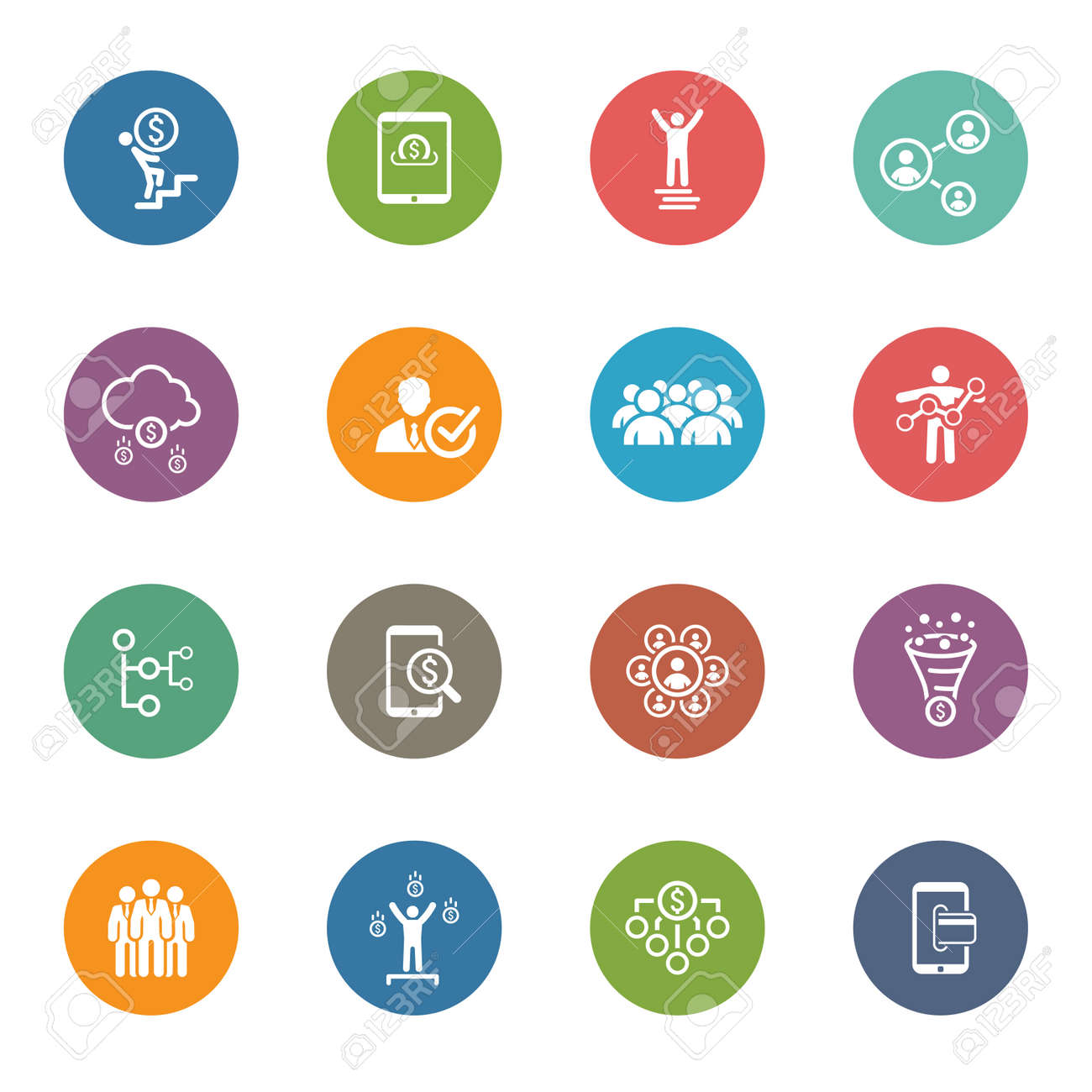 Flat Design Icons Set. Icons for business, management, finance, strategy, planning, analytics, banking, communication, social network, affiliate marketing. - 45248261