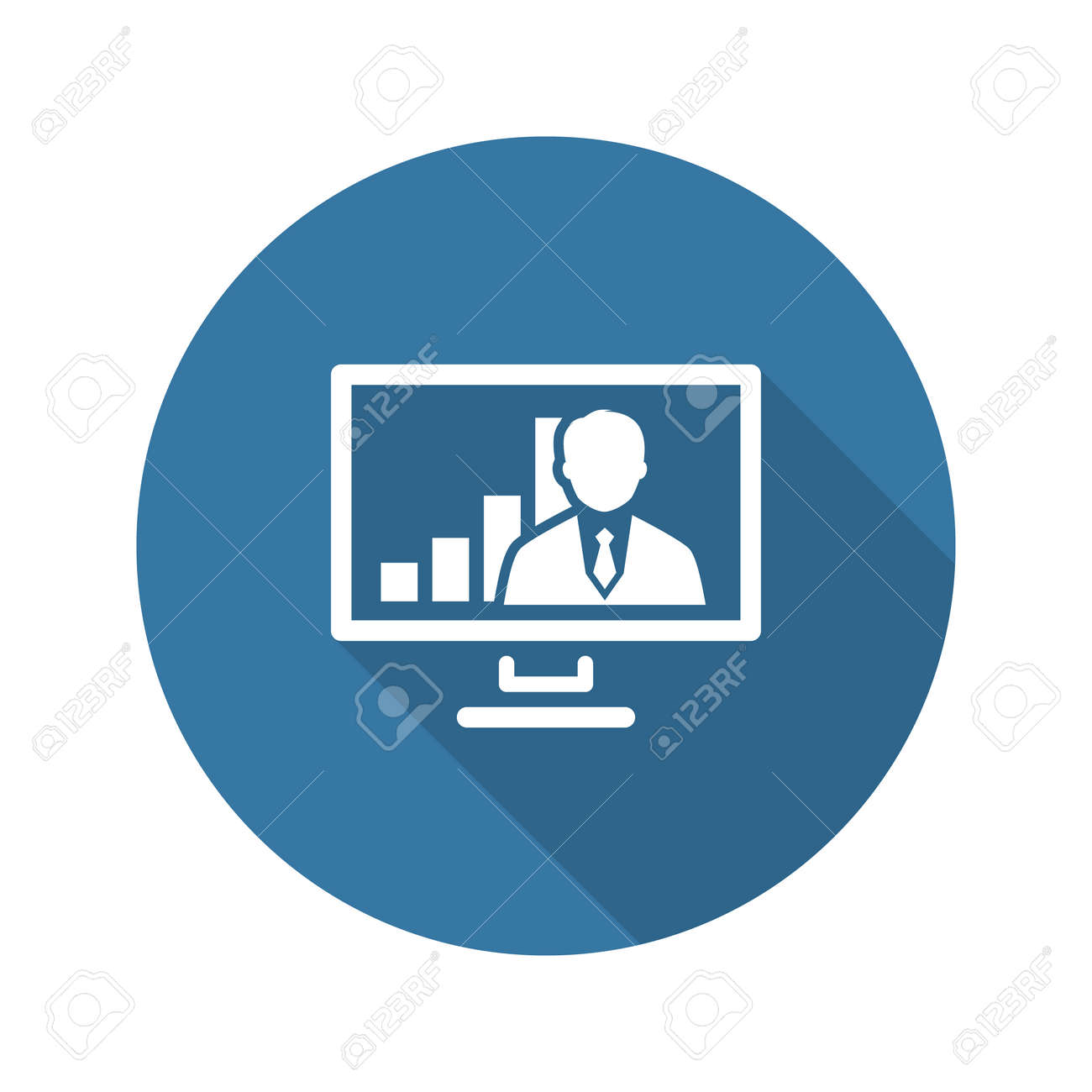 Video Conference Icon. Business Concept. Flat Design. Isolated Illustration. Long Shadow. - 45248286