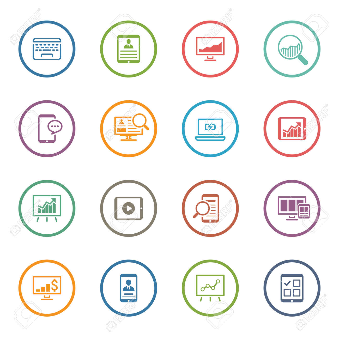 Flat Colored Business Icon Set. Isolated Illustration. - 45248668