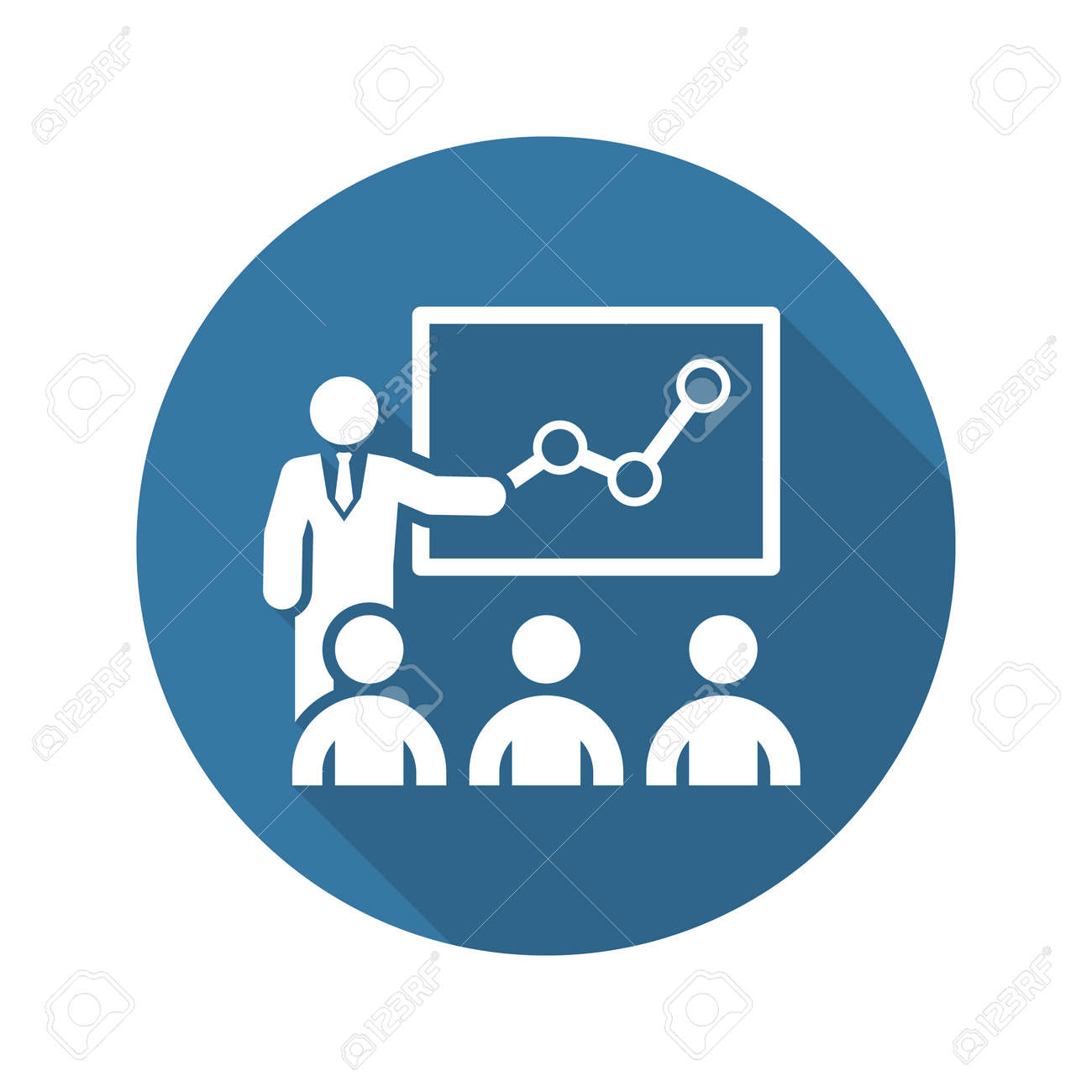 Training Icon. Business Concept. Flat Design. Isolated Illustration. Long Shadow. - 45248768
