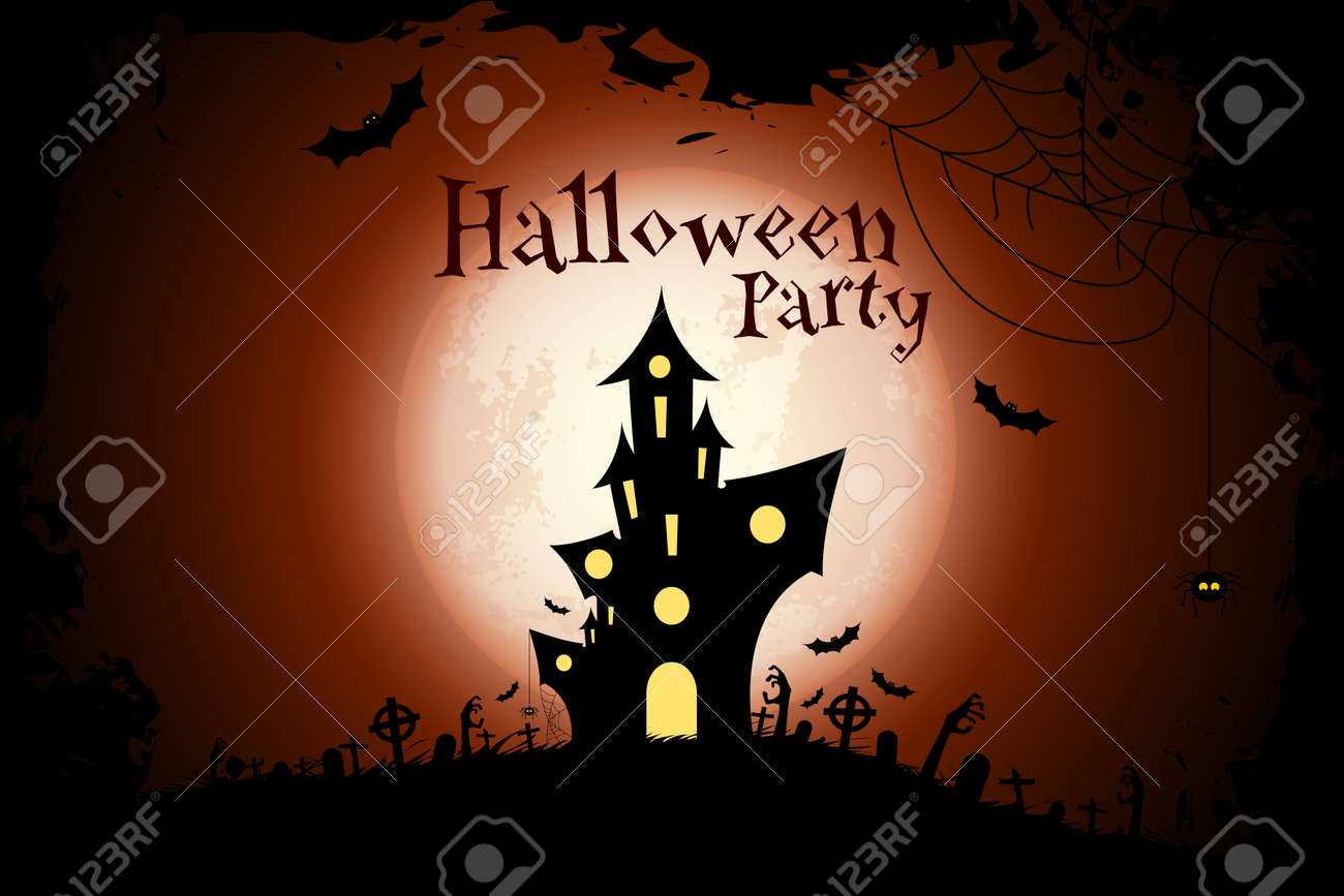 Grungy Halloween Party Background With Haunted House, Bats, Moon ...