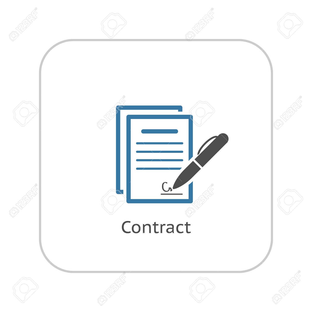 Firma Icono Contrato. Concepto De Negocio. Diseño Plano. Ilustración ...