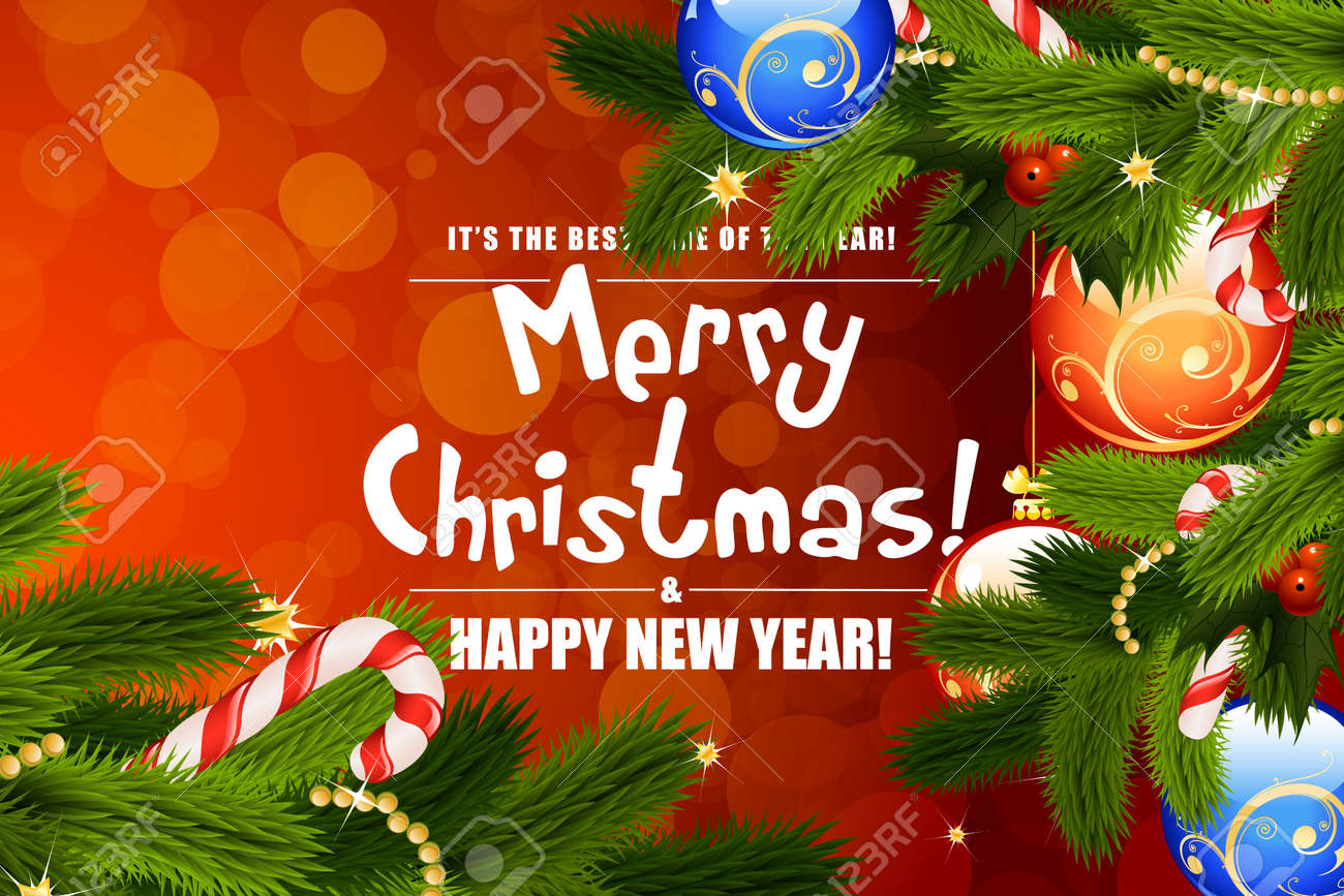 Christmas greeting card template with decorations on red background christmas greeting card template with decorations on red background stock vector 46545430 m4hsunfo