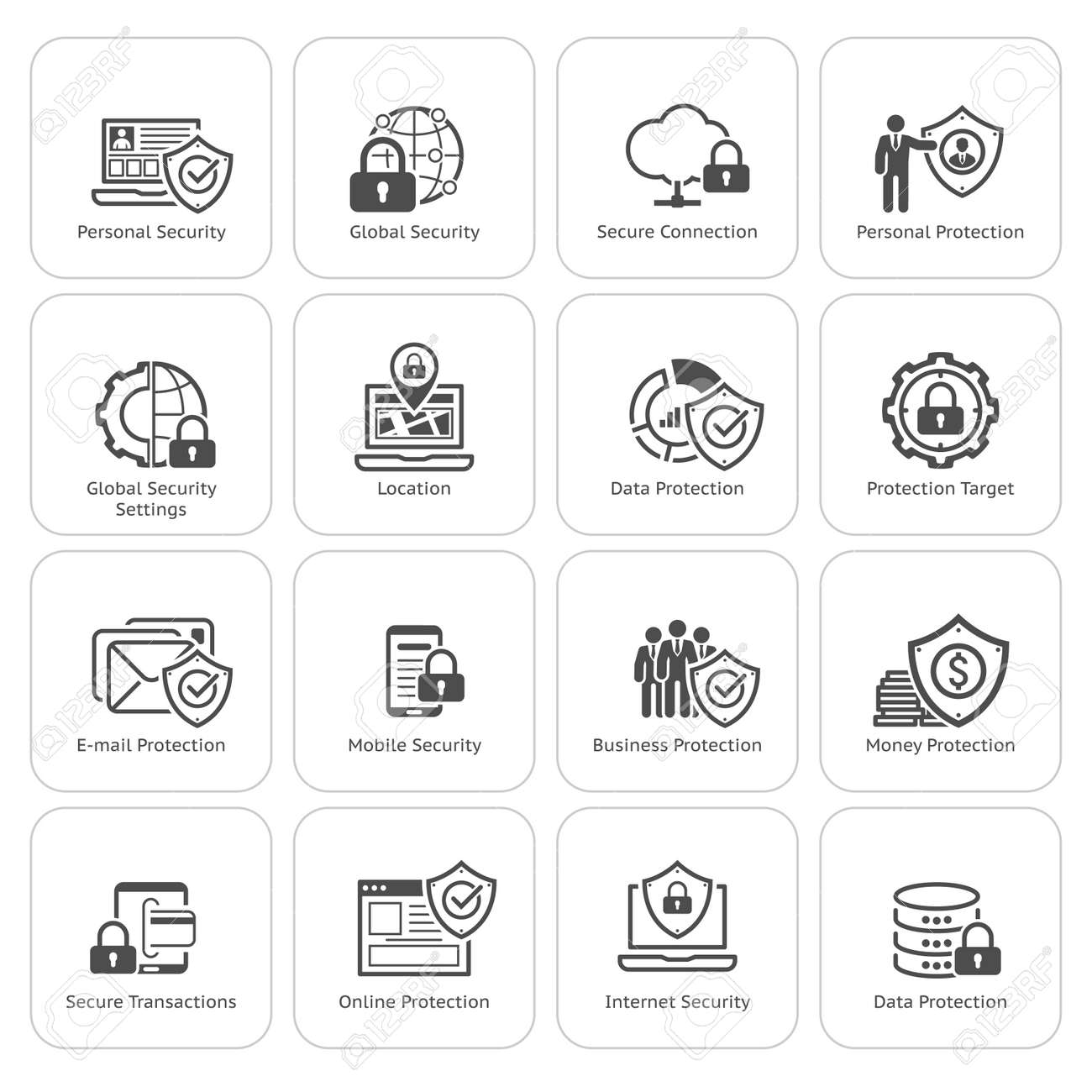 Flat Design Protection and Security Icons Set. Isolated Illustration. - 48455329
