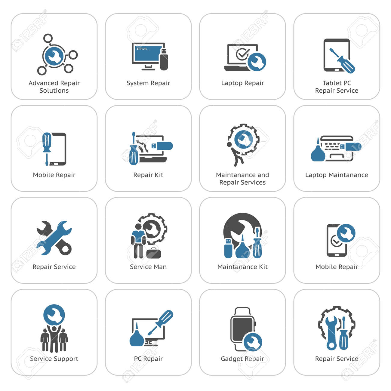 Repair Service and Maintenance Icons Set. Isolated Illustration. - 54396880