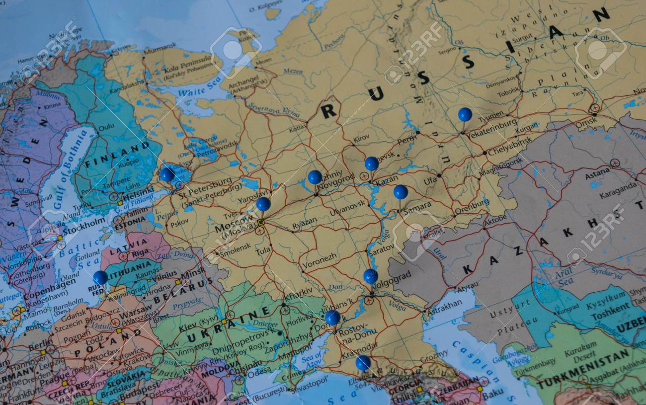 Moscow pinned with other world cup venue cities in a closeup stock moscow pinned with other world cup venue cities in a closeup map for football world cup gumiabroncs Images