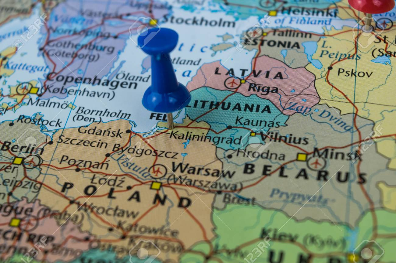 Kaliningrad city pinned on a map of Russia among other World..