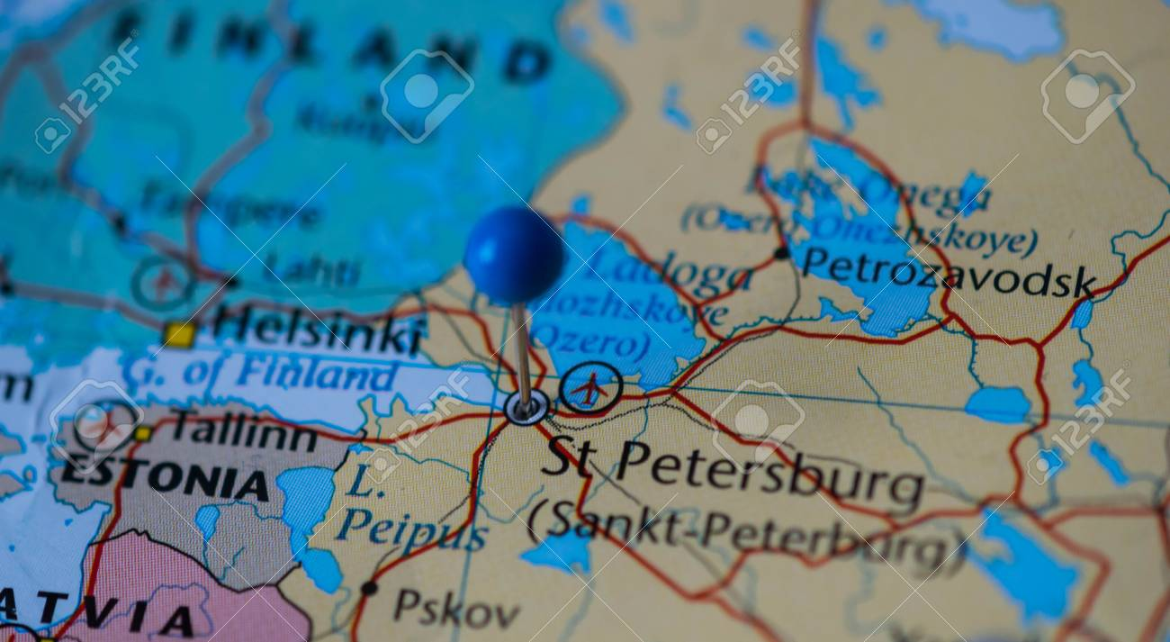 St Petersburg City Pinned On A Map Of Russia Among Other World