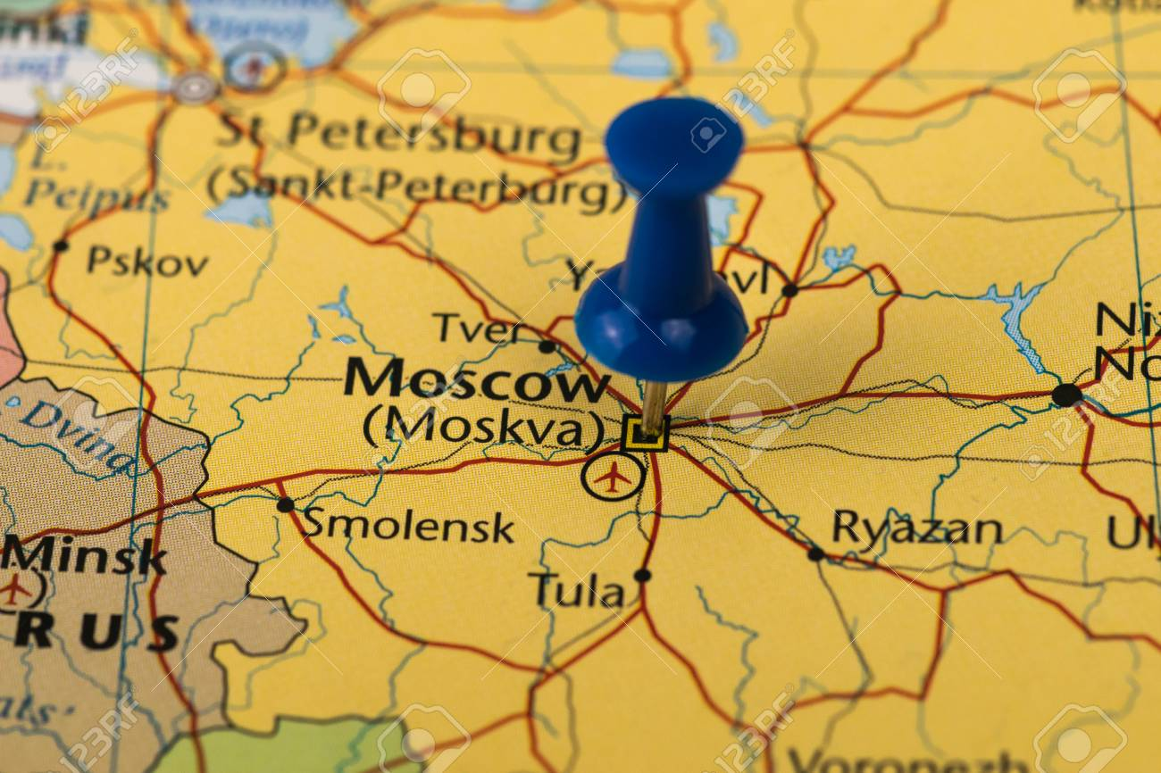 Moscow Pinned in a closeup map for football world cup 2018 in..