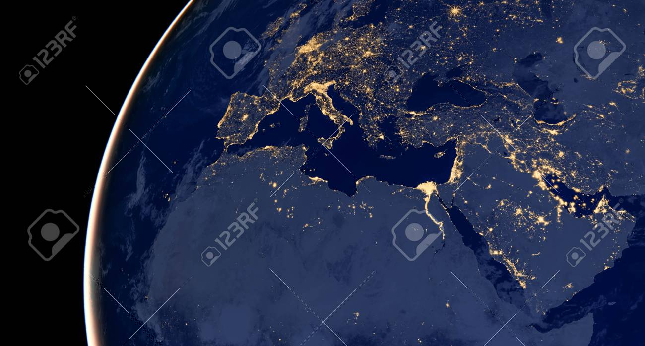 Middle East, West Asia, East Europe Lights During Night As It ...