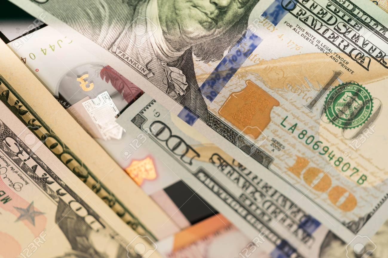 close up of USA banknotes, 100 us dollar note, 50 us dollar notes,