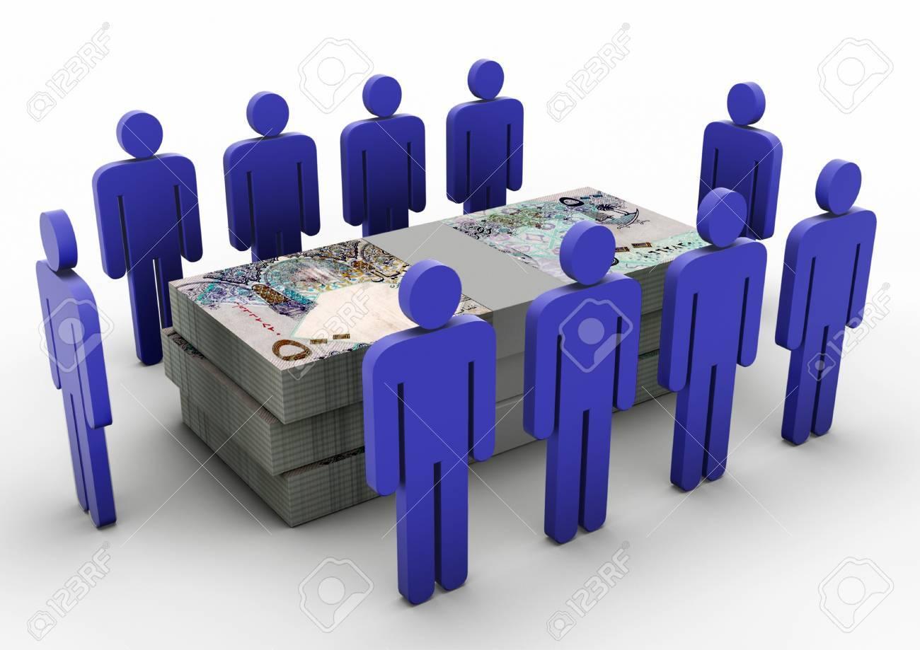 3D people gathering around Money Money Meeting Qatar - 17010012