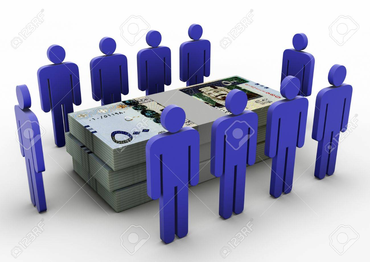 3D people gathering around Money Money Meeting Saudi Arabia - 17010007
