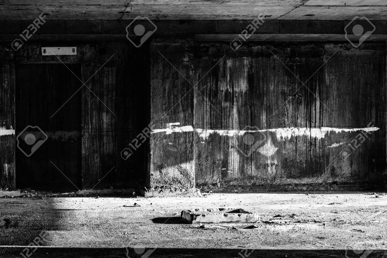 Door To Hell In Abandoned Building Creepy Darkness Halloween Background Stock Photo