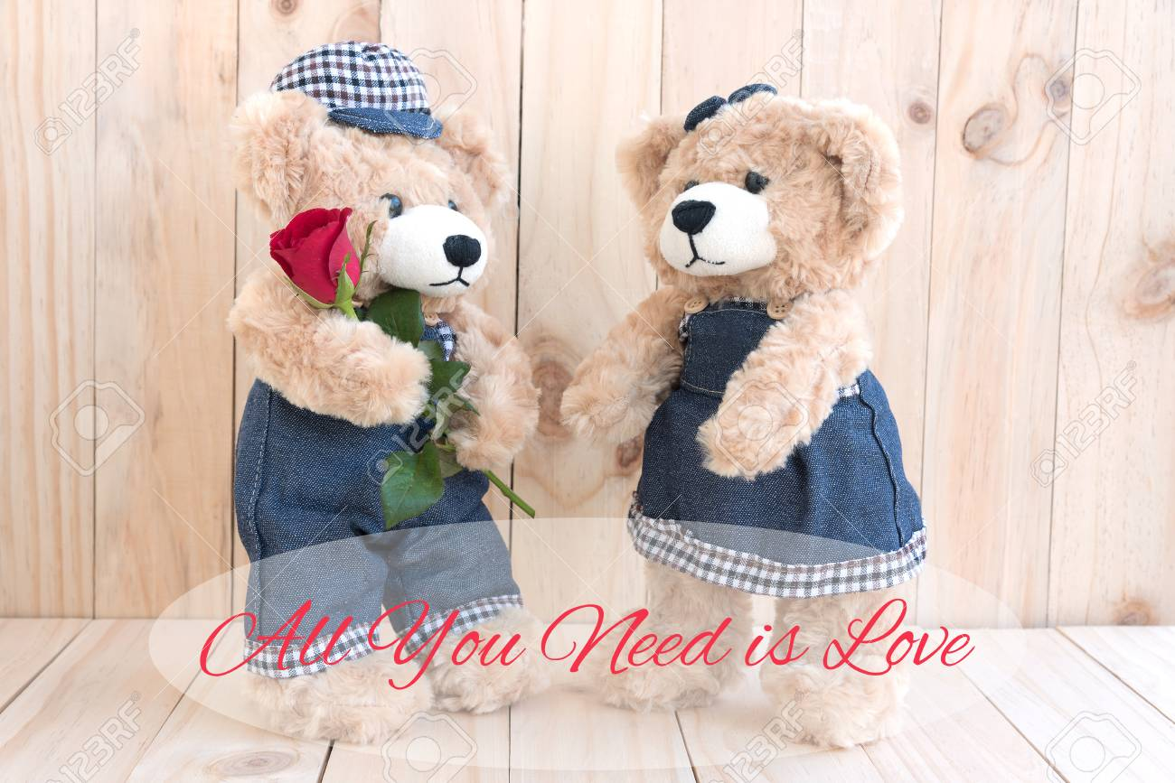 Quote all you need is love over boy teddy bear holding red rose quote all you need is love over boy teddy bear holding red rose gift for lover altavistaventures Images