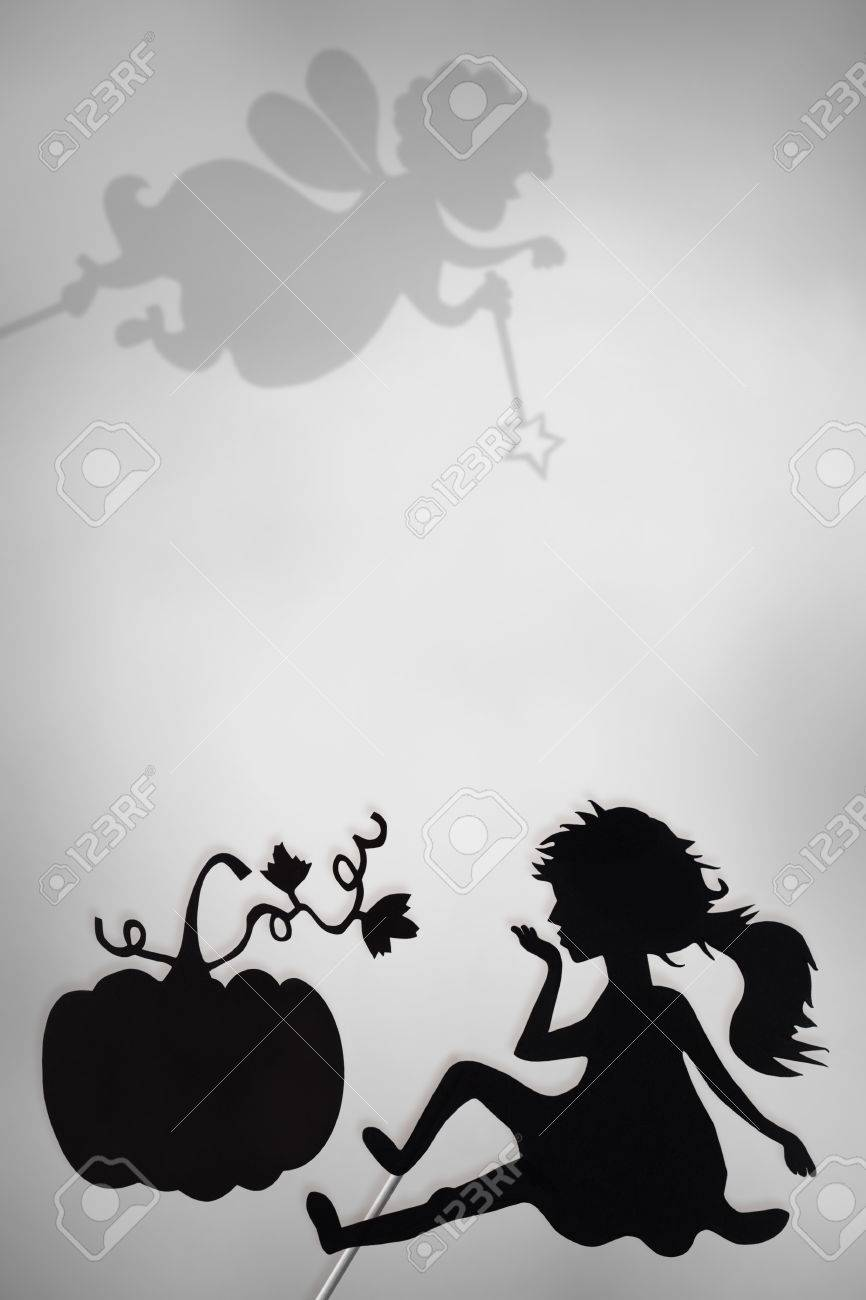 Cinderella And Pumpkin Shadow Puppets And Shades Of Fairy Godmother ...
