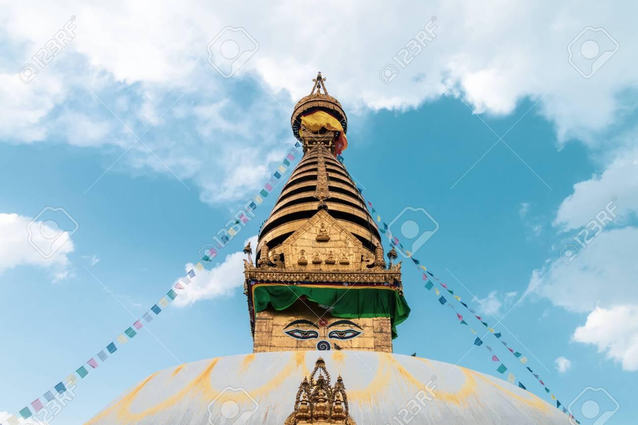 Swayambhunath Stupa the monkey templeSacred Buddhist home of some spiritual monkey, Kathmandu Nepal - 128411632