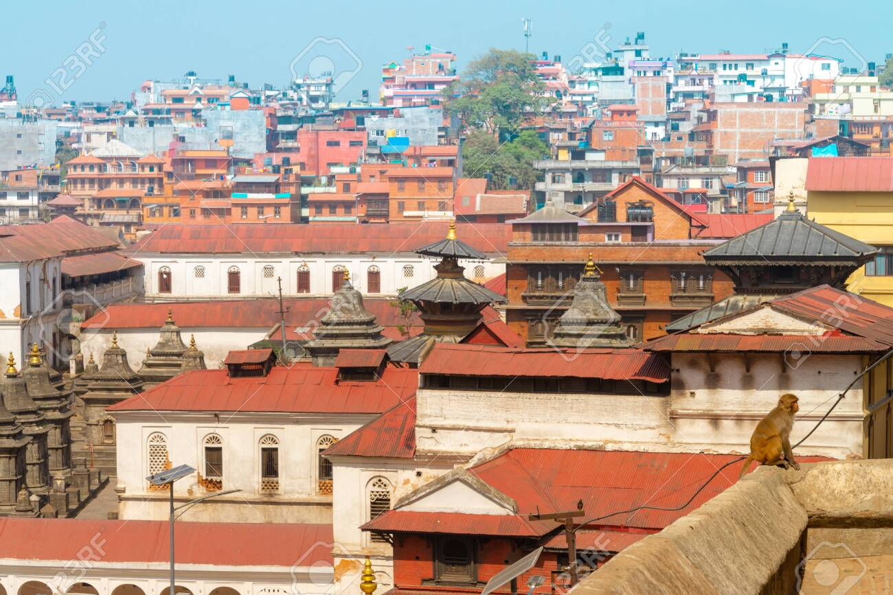 The Pashupatinath Temple is a famous Located on the banks of the Bagmati River in Kathmandu, Nepal. - 128411641